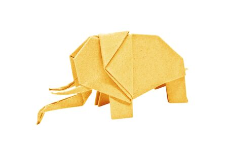 The origami elephant asian recycle yellow paper, Isolated on white.