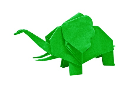 The origami elephant asian recycle green paper, Isolated on white. Stock Photo