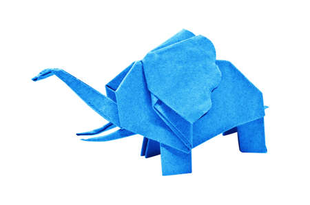 The origami elephant asian recycle cyan paper, Isolated on white.