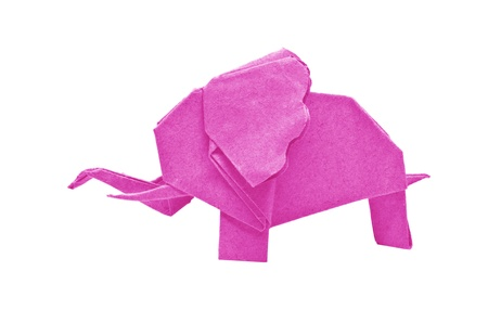 The origami elephant asian recycle pink paper, Isolated on white.