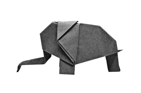 The origami elephant asian recycle black paper, Isolated on white.
