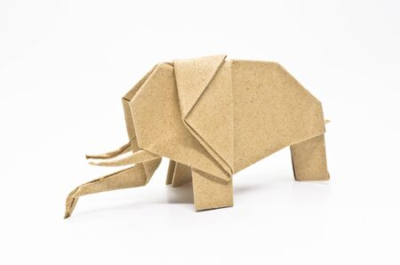The origami elephant asian recycle paper, Isolated on white. photo