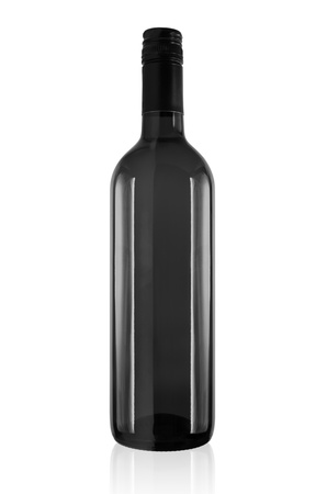 unlabeled: Black wine bottle isolated on a white background.