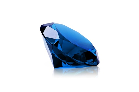 Blue diamond isolated on white background. Concept most precious beauty. photo