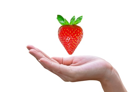 Red strawberry  on female hand selecting concept Stock Photo - 15960078
