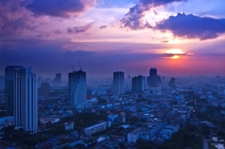 Landscape Bangkok city at twilight, high angle, at the sunset. Stock Photo - 16133323