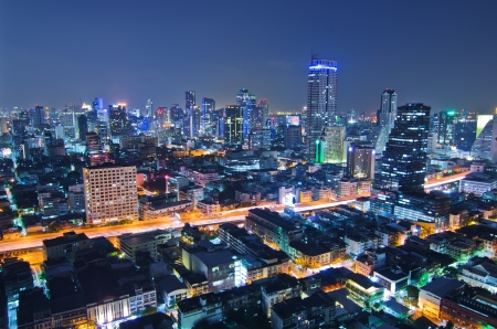 Landscape Bangkok city at twilight, high angle. Stock Photo - 16127699