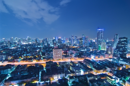 Landscape Bangkok city at twilight, high angle.
