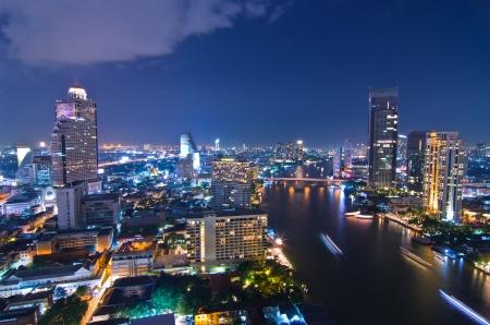 Landscape Bangkok city at twilight, high angle.