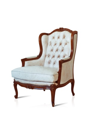 antique chair: Vintage luxury White sofa Armchair isolated on white background