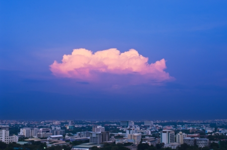 Landscape Bangkok city at twilight, high angle with Golden clouds. photo