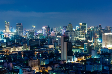 Landscape Bangkok city Modern building at twilight, high angle. Stock Photo