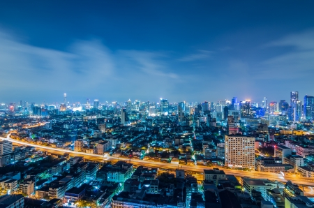 Landscape Bangkok city Modern building at twilight, high angle. Stock Photo - 16425309
