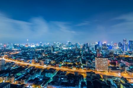 Landscape Bangkok city Modern building at twilight, high angle. Stock Photo - 16425309