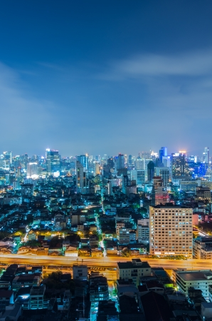 Landscape Bangkok city Modern building at twilight, high angle. Stock Photo - 16478353