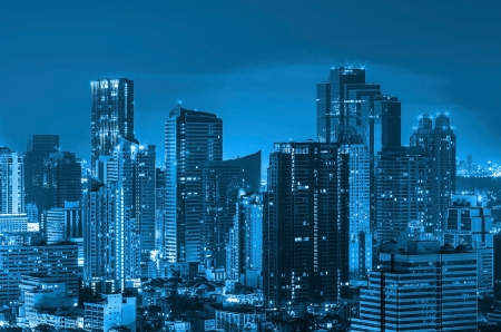 Landscape Bangkok city Modern building at twilight, high angle. Stock Photo - 16666798