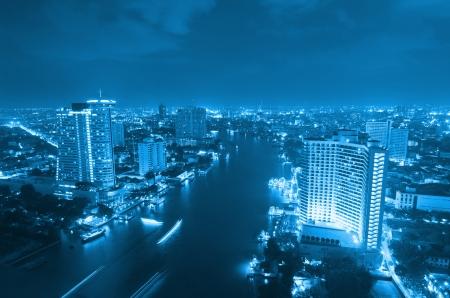 Landscape Bangkok city at twilight, high angle. Stock Photo - 16666792