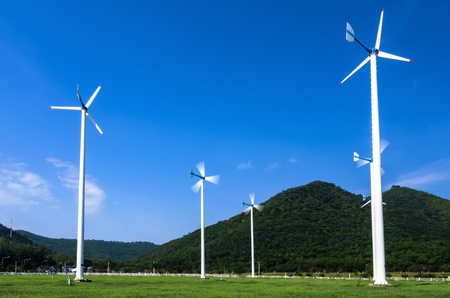 Wind energy turbines. In power stations. Phetchaburi Province, Thailand. photo