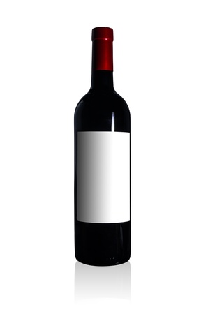 The red wine bottle  on a white background. photo