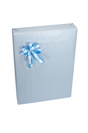 Gray gift box with white ribbon and blue. Isolated on white. photo