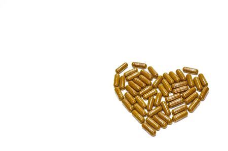 relieve: Herbal capsules made of turmeric. Relieve flatulence, heart shape