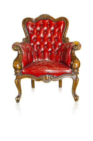 Red vintage style sofa isolated on white background  photo