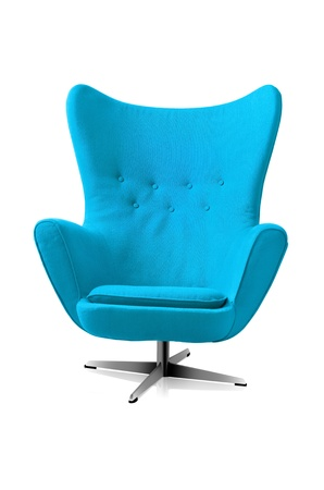 Blue modern style chair isolated a white background