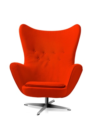 Red modern style chair isolated a white background  Stock Photo
