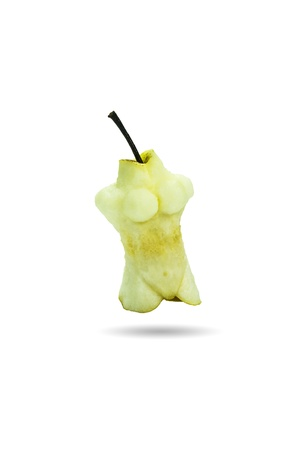 Yellow bites pear isolated on a white background  Concept Health Diet photo