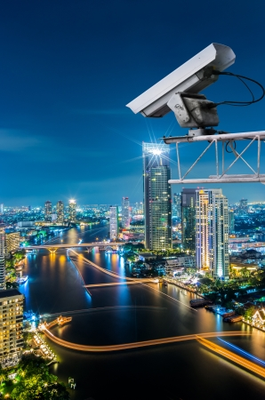 Security camera detects the movement of traffic. Skyscraper rooftop. Stock Photo - 18344696