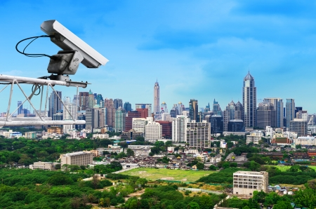 Security camera detects the movement of traffic. Skyscraper rooftop. Stock Photo - 18344781
