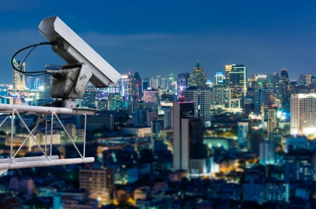 Security camera detects the movement of traffic. Skyscraper rooftop.