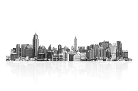 tall buildings: Building a modern themed mono tones on a white background. Stock Photo