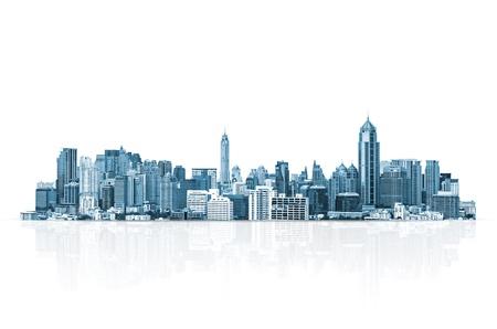 도시 풍경, 흰색 배경, 사업 개념에 현대적인 건물입니다.