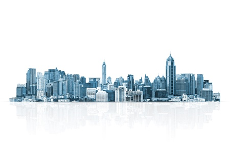 city: paisaje urbano, moderno edificio en un fondo blanco, concepto de negocios. Foto de archivo