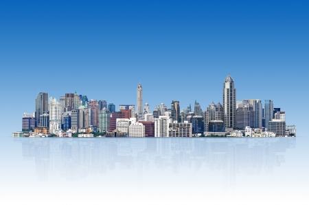 도시 풍경, 파란색 배경에 현대적인 건물입니다.