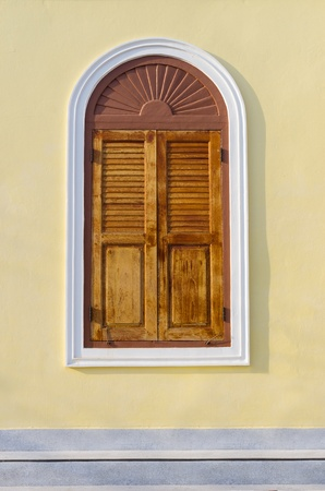 Old wooden windows. Vintage style, window closed. photo
