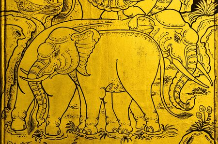 public domain: Drawing elephant art golden pattern Thailand, the public domain. Stock Photo