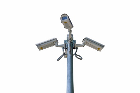 nightvision: Check the movement of the traffic cameras. isolated on white with clipping path.