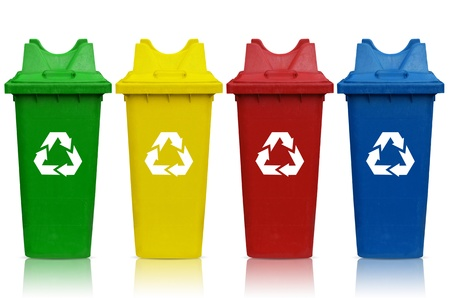 Types of recycling bins with bin green, yellow, red and blue. photo