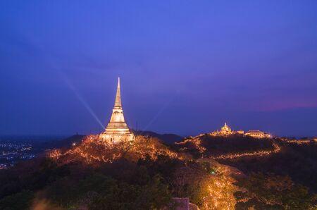 Landscape of phetchaburi province annual festival firework,thailand photo