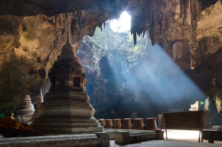 Sun light in a cave Khaoluang attractions. Phetchaburi Thailand Stock Photo - 19264421