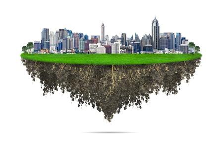 Stadtansicht, modernes Geb?ude auf einem wei?en Hintergrund, Konzept ECO. Standard-Bild - 19382446