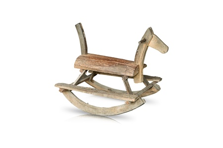 wooden Rocking Horse made ​​of old wood toys. photo