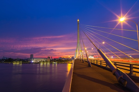 viii: Rama VIII Bridge. Beautiful sky at sunset.
