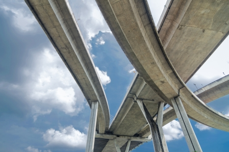Elevated expressway. The curve of suspension bridge, Thailand. Archivio Fotografico