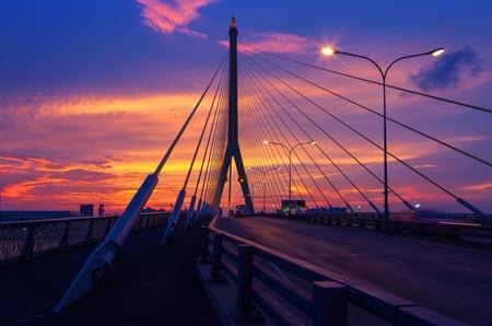 viii: Rama VIII Bridge. Beautiful sky at sunset.