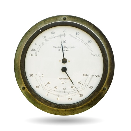 aneroid: Air temperature and relative humidity. Isolated on white.