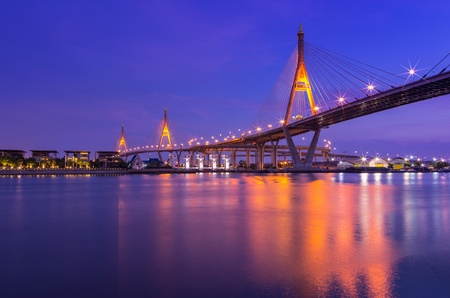 BANGKOK, THAILAND-MAY 5:The Bhumibol Bridge , one of Thailand most famous bridges, spanning the river Choa Phraya on May 5 ,2013 in Bangkok, Thailand.  photo