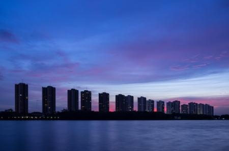CItyscape modern residential building near the Bangkok sunset sky beautiful. photo